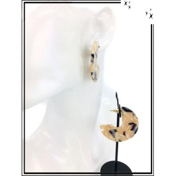 Boucles d'oreilles - Résine - 3/4 - Nuancé - Beige / Noir