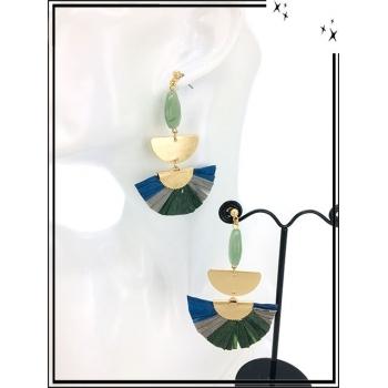 Boucles d'oreilles - Résine - Perle - Demi lune dorée - Camaieu bleu / vert