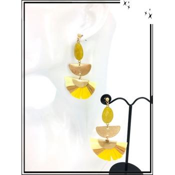 Boucles d'oreilles - Résine - Perle - Demi lune dorée - Camaieu jaune / beige