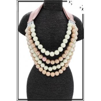 Collier - Multi-rangs - Perles nacrées - Rose poudré / Blanc