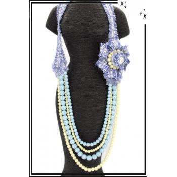 Sautoir - Résine - Perles nacrées - Bleu / Blanc