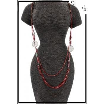 Sautoir - Multi-rangs - Perles - Piecette - Rouge / Noir