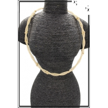 Collier - Nylon - Perle - Doré