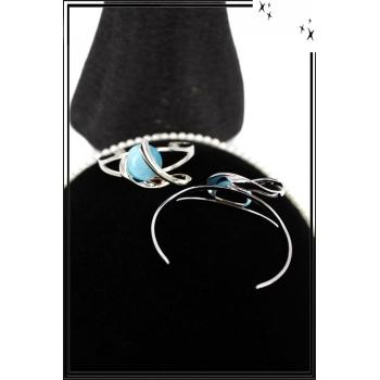 Bracelet - Jonc - Acier - Arabesques - Pierre bleu azur