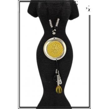 Sautoir - Rond en rotin - Perles - Jaune