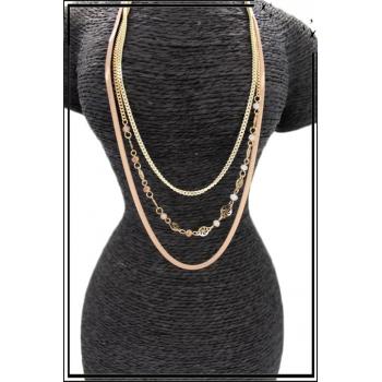 Sautoir - Triple rangs - Chaînettes - Petites perles - Beige / Doré