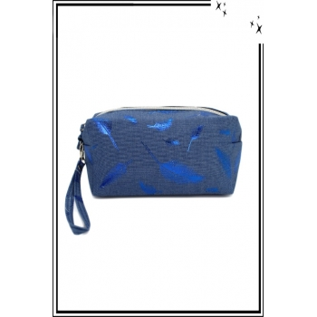 Trousse de sac à main - Jean - Plumes bleu roi
