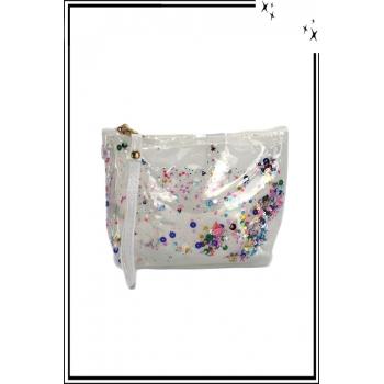 Trousse de sac à main - Perles plates - Brillant - Blanc
