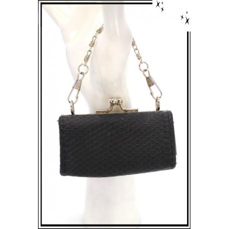 Porte-monnaie - Petites chaînes métal - Ecailles serrées - Noir
