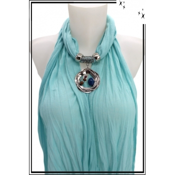 Foulard-bijoux - Bleu ciel - Triple cercles - Perles