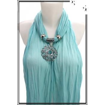Foulard-bijoux - Bleu ciel - Ronds entrelacés