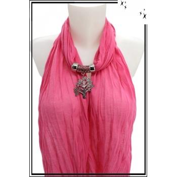 Foulard-bijoux - Rose - Arbre de vie