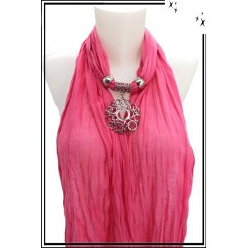 Foulard-bijoux - Rose - Ronds entrelacés