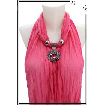 Foulard-bijoux - Rose - Bijoux ethnique - Multicolor