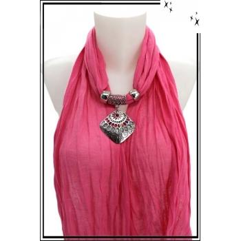 Foulard-bijoux - Rose - Losange ajouré - Pierre rouge