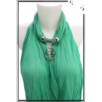 Foulard-bijoux - Vert menthe - Ronds entrelacés