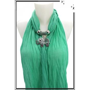 Foulard-bijoux - Vert menthe - Eléphant ajouré