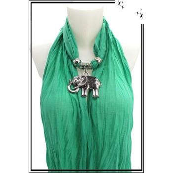 Foulard-bijoux - Vert menthe - Eléphant