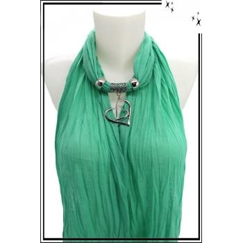 Foulard-bijoux - Vert menthe - Double coeurs