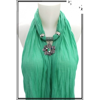 Foulard-bijoux - Vert menthe - Bijoux ethnique - Multicolor