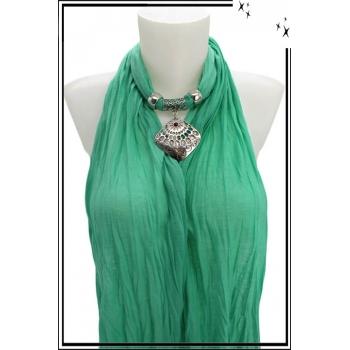 Foulard-bijoux - Vert menthe - Losange ajouré - Pierre rouge