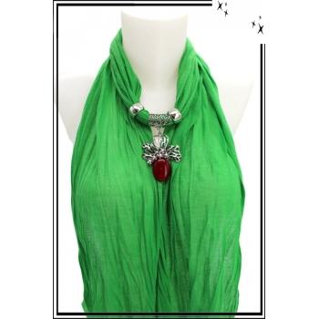 Foulard-bijoux - Vert - Feuilles - Grosse pierre bordeaux