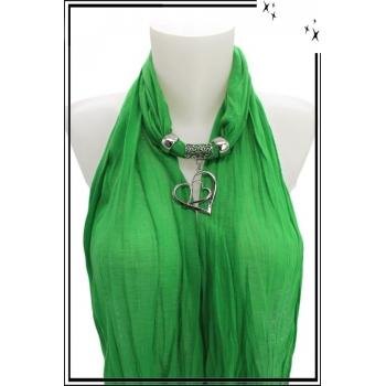 Foulard-bijoux - Vert - Double coeurs