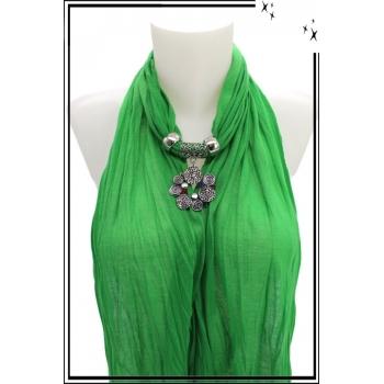 Foulard-bijoux - Vert - Bijoux ethnique - Multicolor