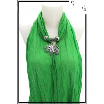 Foulard-bijoux - Vert - Eléphant ajouré