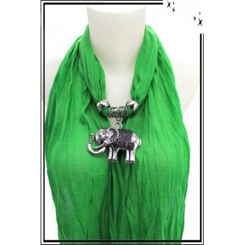 Foulard-bijoux - Vert - Eléphant