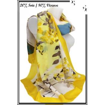 Foulard - Touche de soie - Branches - Bordure jaune