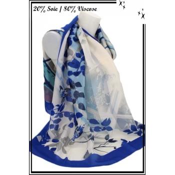 Foulard - Touche de soie - Branches - Bordure bleu roi