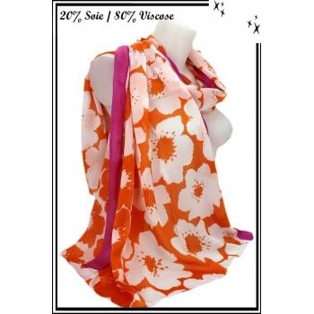Foulard - Touche de soie - Fleurs - Bordure fushia