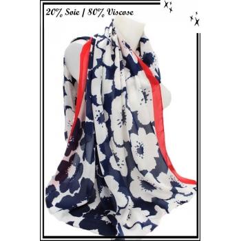 Foulard - Touche de soie - Fleurs - Bordure rouge