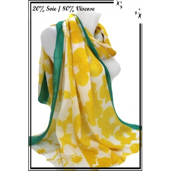 Foulard - Touche de soie - Fleurs - Bordure vert
