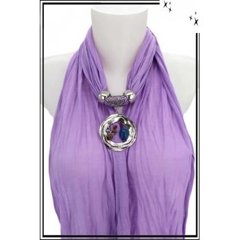 Foulard-bijoux - Parme - Triple cercles - Perles + Bijoux doré offert