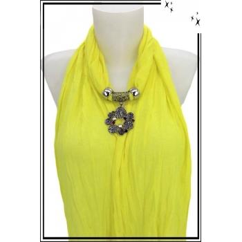 Foulard-bijoux - Jaune citron - Bijoux ethnique - Multicolor + Bijoux doré offert