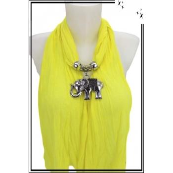 Foulard-bijoux - Jaune citron - Eléphant + Bijoux doré offert