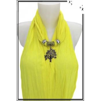 Foulard-bijoux - Jaune citron - Arbre de vie + Bijoux doré offert