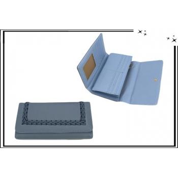 Portefeuille - Multi-compartiments - Natté - Bleu gris