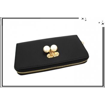 Porte-monnaie - Multi-compartiments - Pampilles perles nacrées - Noir