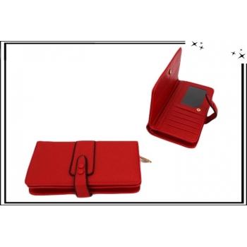 Portefeuille - Multi-compartiments - Double pression - Rouge