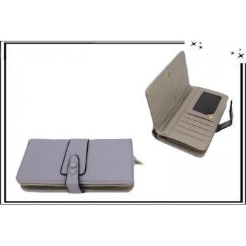 Portefeuille - Multi-compartiments - Double pression - Gris