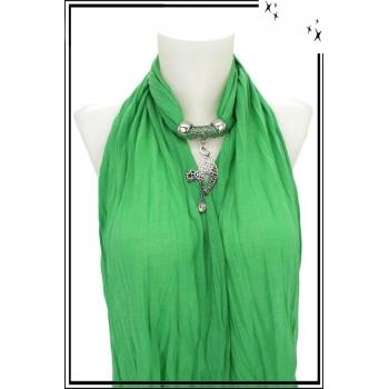 Foulard-bijoux - Vert clair - Chat - Strass + BIJOUX DORÉ OFFERT