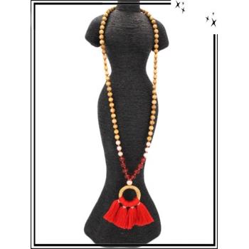 Sautoir - Perles en bois - Rond - Pompons - Rouge