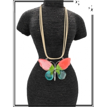 Collier - Résine - Papillon - Multicolor