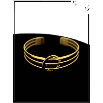Bracelet - Réglable - 3 rangs - Rond - Doré