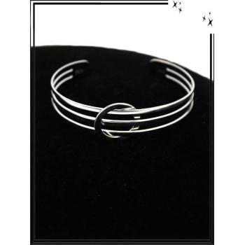 Bracelet - Réglable - 3 rangs - Rond - Argent