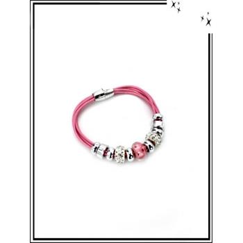 Bracelets - Fermeture aimantée - Perles strass - Rose