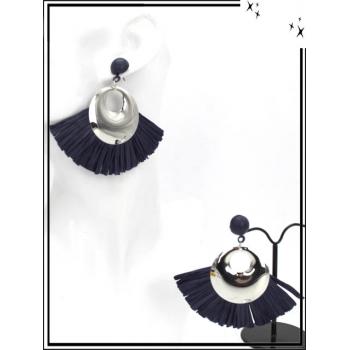 Boucles d'oreilles - Rafia - Argent / Bleu marine